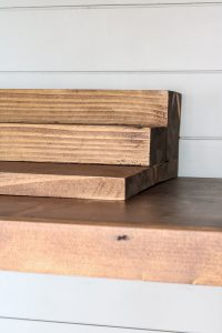 DIY stained wood pantry can organizer