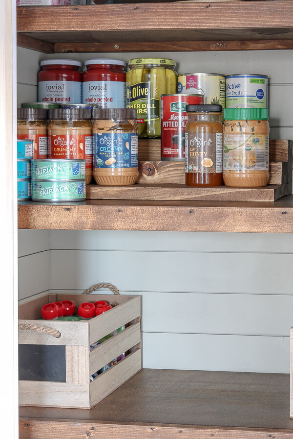 DIY wood pantry can organizer with cans