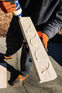 wood glue on piece of wood