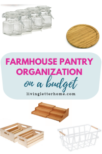 The best budget items for your own farmhouse style pantry organization #pantryorganization #pantrybaskets #organizedpantry #farmhousepantry