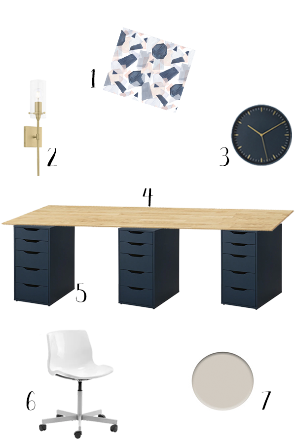 Starting the spring One Room Challenge by sharing our modern and feminine office design plan, including navy and gold accents and budget Ikea items