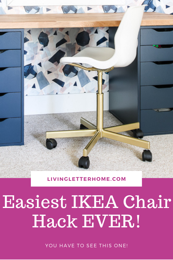 This is the easiest IKEA Snille chair hack EVER and is a great solution for a modern chair that won't break the bank #officechair #IKEAhack #snillehack #deskchair #budgetoffice