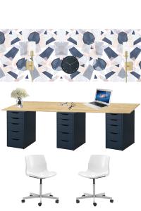 modern and feminine office mood board