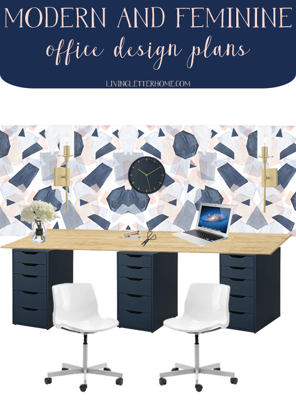 A modern and feminine office design plan from Living Letter Home, using lots of budget finds from Amazon and Ikea #amazonoffice #ikeaoffice #officedesign #feminineoffice