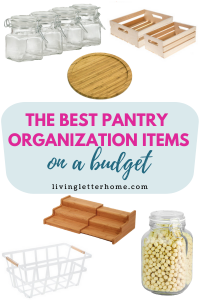 The best pantry organization items on a budget graphic