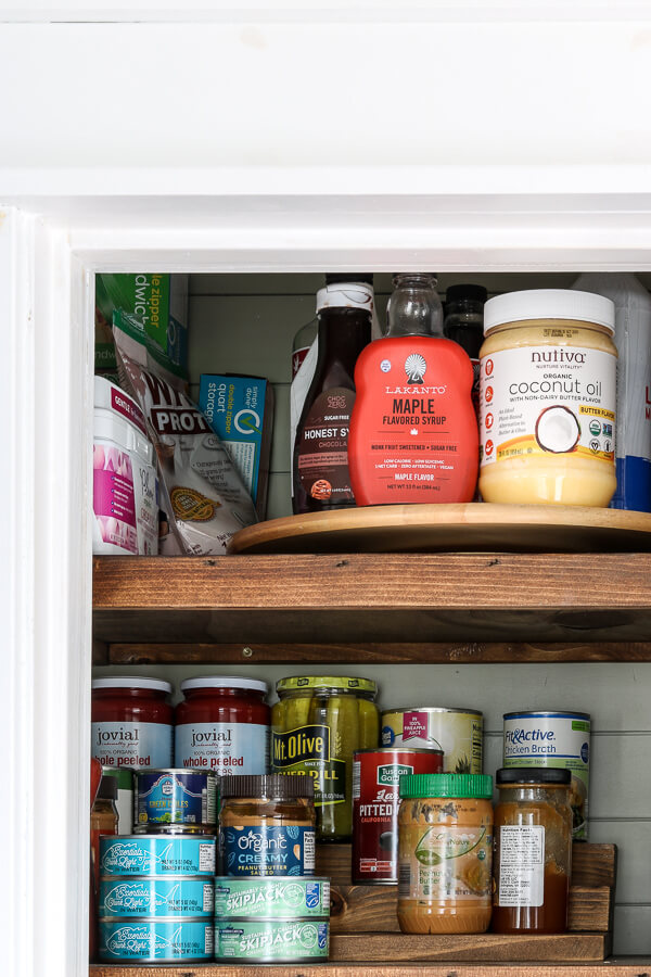 lazy susan and pantry can organizer in small pantry closet