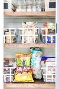 white metal baskets and 3 shelves organized pantry ideas
