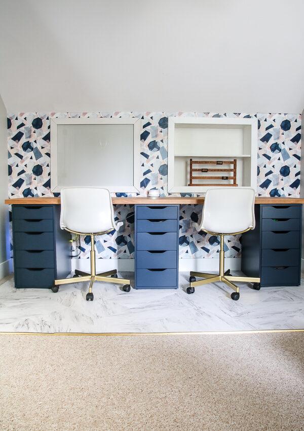 DIY Faux Marble Desk Chair Mat
