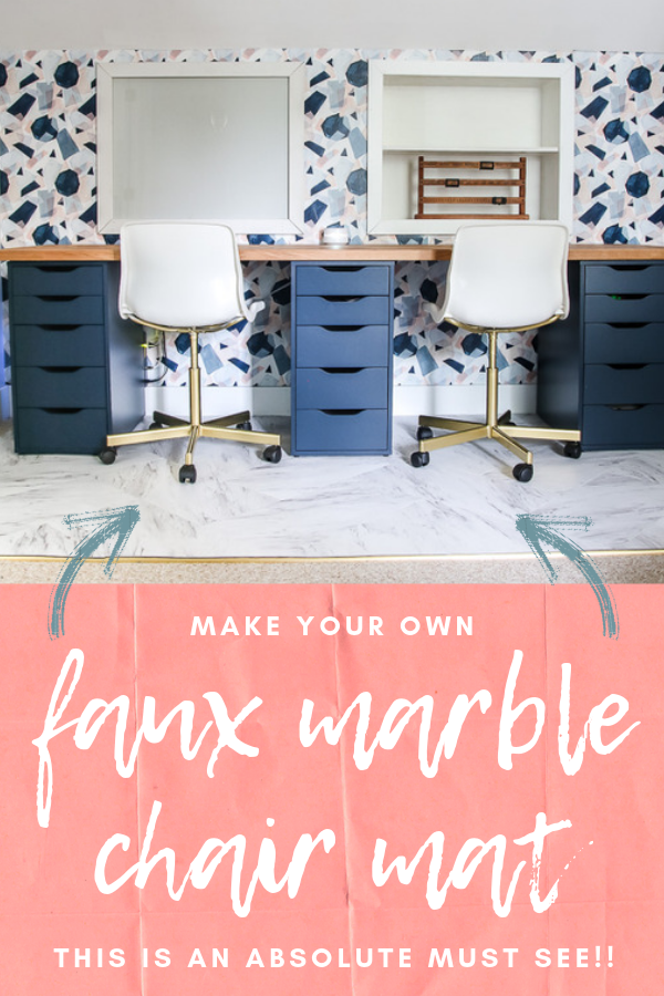 Check out this GENIUS idea for a DIY faux marble floor mat using peel and stick tiles for your desk chairs #homeoffice #fauxmarble #peelandstick #officemat #officechairmat