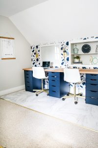 navy ikea alex drawers desk with wallpaper
