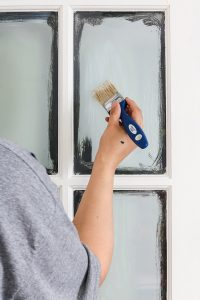 painting interior french doors with masking liquid H20