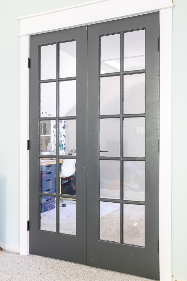 Sherwin Williams Iron Ore painted french doors