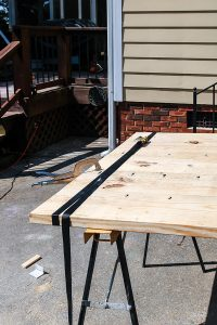farmhouse table top strapped together