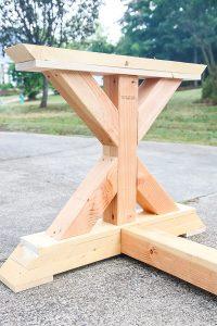 closeup of X shaped leg of farmhouse table