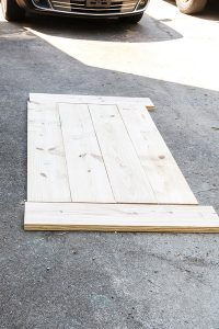 lumber laid out in shape of table top