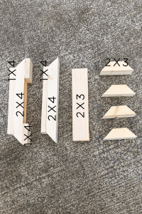 farmhouse table leg pieces with measurements on them