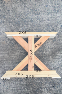 farmhouse table leg with measurements on it