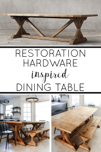 Restoration Hardware inspired dining table that you can make in a weekend and save thousands! See how at livingletterhome.com! #farmhousetable #farmhousediningtable #restorationhardware #DIYfarmhousetable
