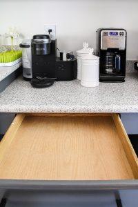 empty kitchen drawer under keurig