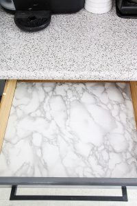 marble contact paper in kitchen drawer