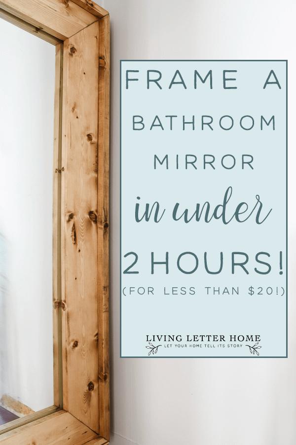 How to frame bathroom mirror FOR CHEAP in under 2 hours! #framedmirror #diymirrorframe