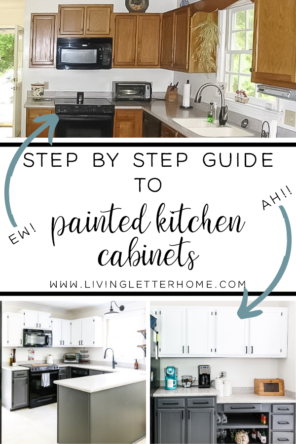 Have you considered painting your kitchen cabinets? Well, we did and love it! Read this guide to painting your kitchen cabinets the right (but still easy!) way #paintedcabinets #paintkitchencabinets