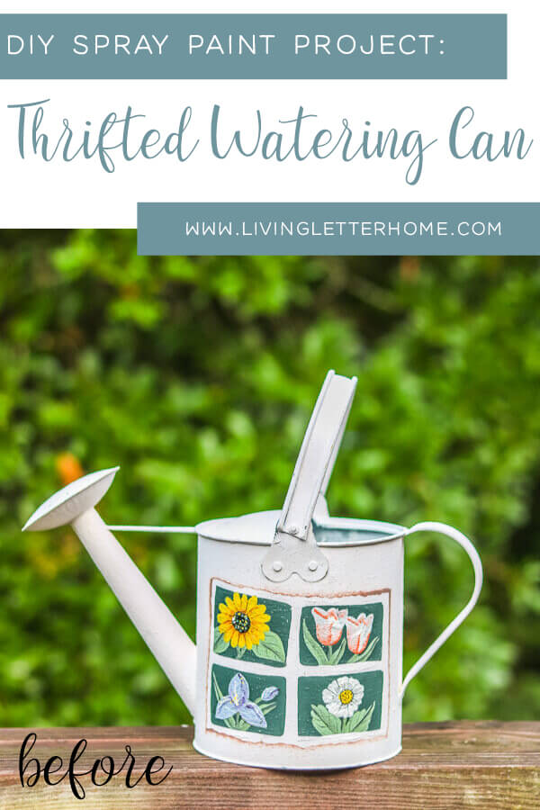 SUPER cute thrifted watering can idea with spray paint! #wateringcanidea