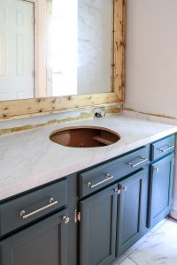 vanity makeover with marble contact paper