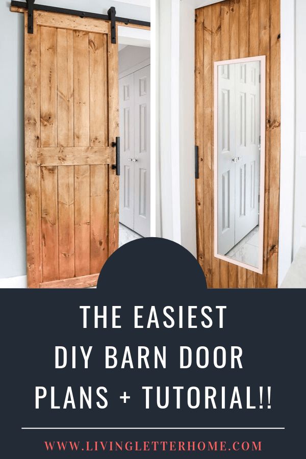 DIY barn door plans and tutorial. We snuck a little something on the back side of this door you have to see! #DIYbarndoor #barndoortutorial