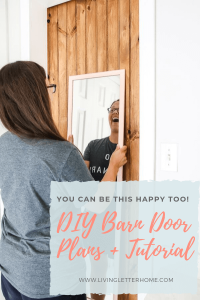 DIY barn door plans and tutorial. We snuck a little something on the back side of this door you have to see! #DIYbarndoor #barndoortutorial