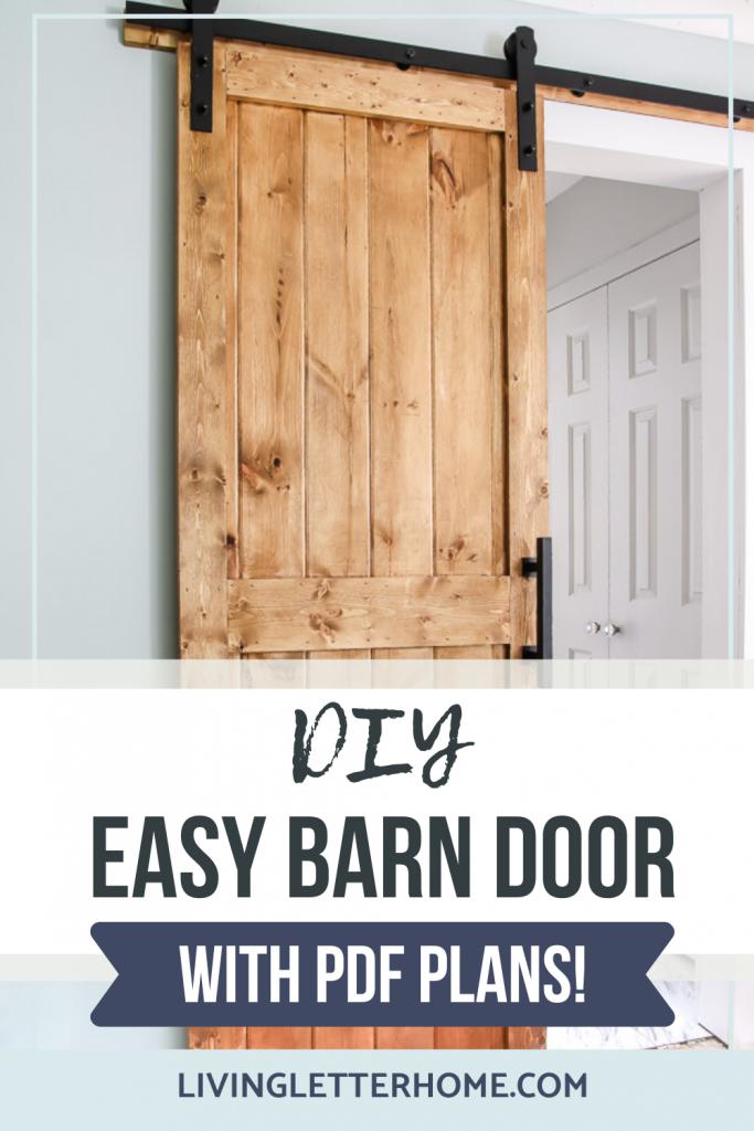 DIY Easy barn door with PDF plans graphic