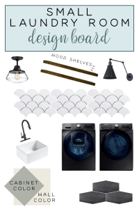 Small laundry room design plans with the Jeffrey Court Design Challenge Team! #smalllaundryroom #laundryroomideas #smalllaundryroomdesign