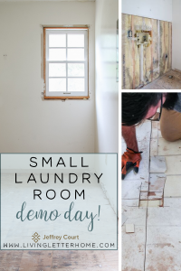 Small laundry room demo and what's hiding in this floor?! Come read more at LivingLetterHome.com #smalllaundryroom #laundryroomdesign #smalllaundryroomideas