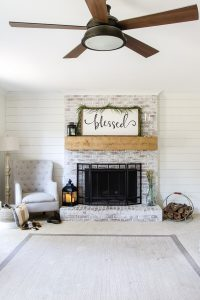 shiplap wall painted alabaster white
