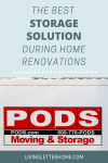 Why we chose PODS over a storage unit during our home renovation. Make room for renovations with storage right in your driveway! #ad #PODS #refinishinghardwoodfloors