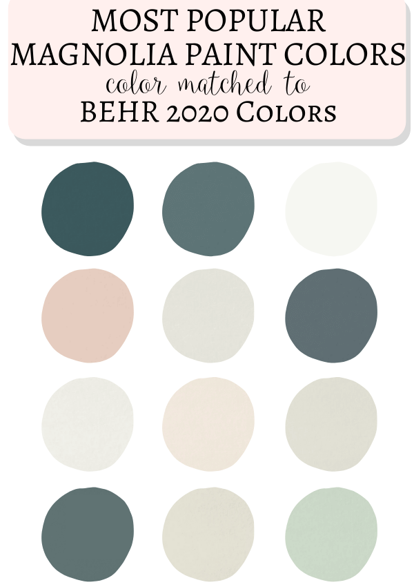 Behr 2020 Paint Colors Matched To Magnolia