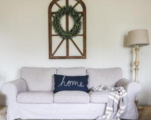 white couch sherwin williams alabaster walls