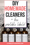 DIY homemade cleaners with free printable labels! Glass cleaner, DIY disinfectant spray, all-purpose cleaner and bleach disinfectant
