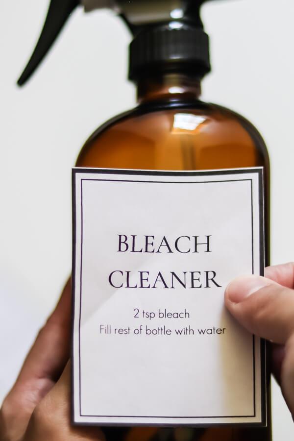putting label on DIY bleach cleaner
