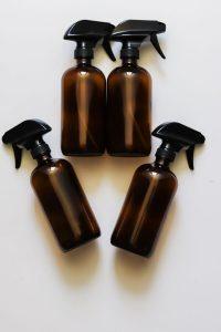 4 amber glass spray bottles