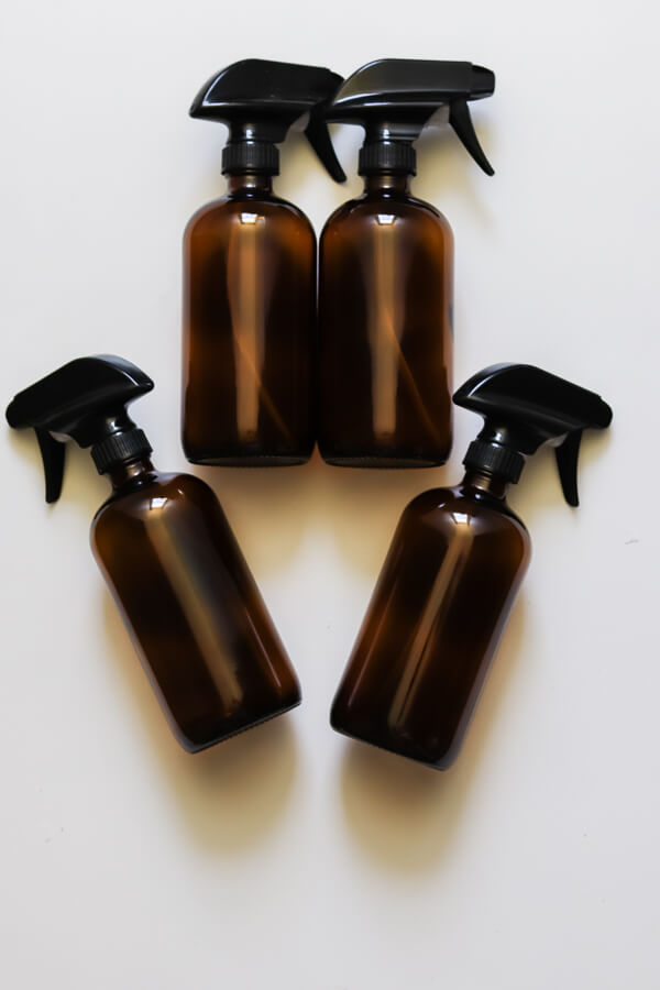 4 amber glass spray bottles