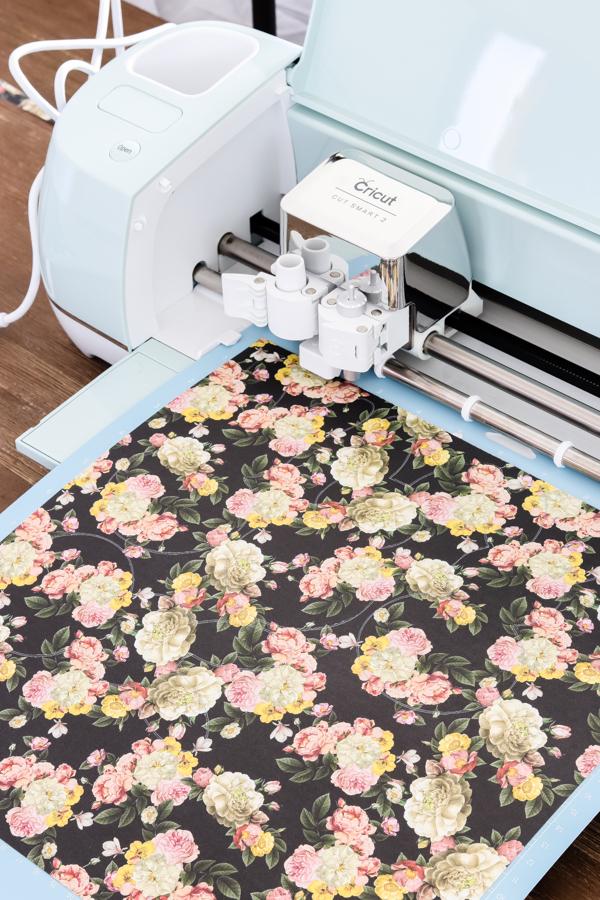 cricut explore air 2 cutting floral scrapbook paper