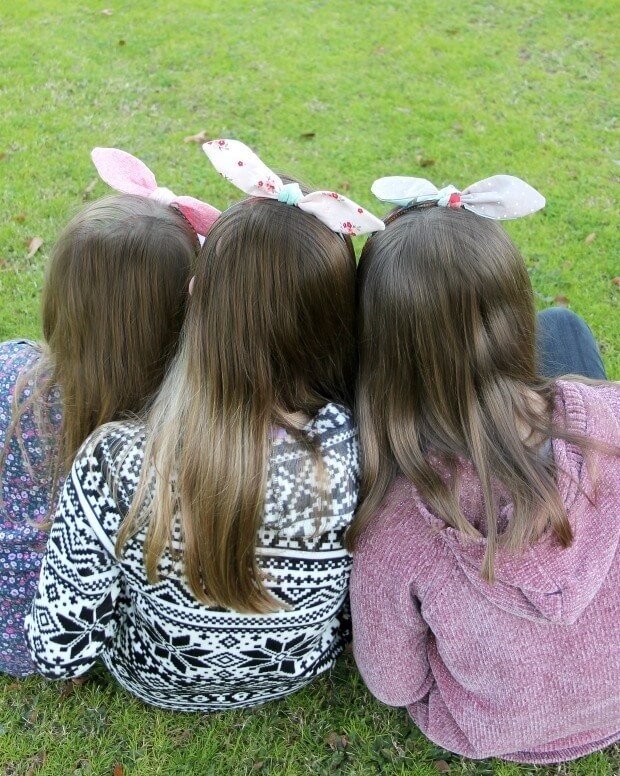 3 girls with bunny headbands