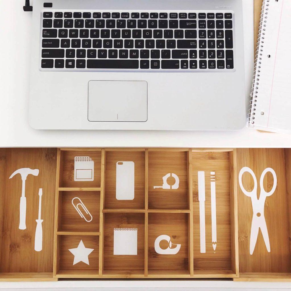organized bamboo drawer separator
