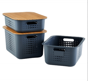 charcoal decorative storage basket with wood lid