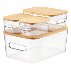 clear storage bin with wood lid