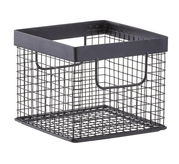black wire metal storage basket
