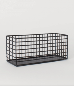 black wire metal storage basket
