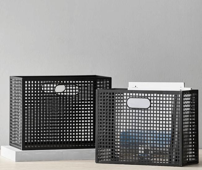 black mesh metal storage basket