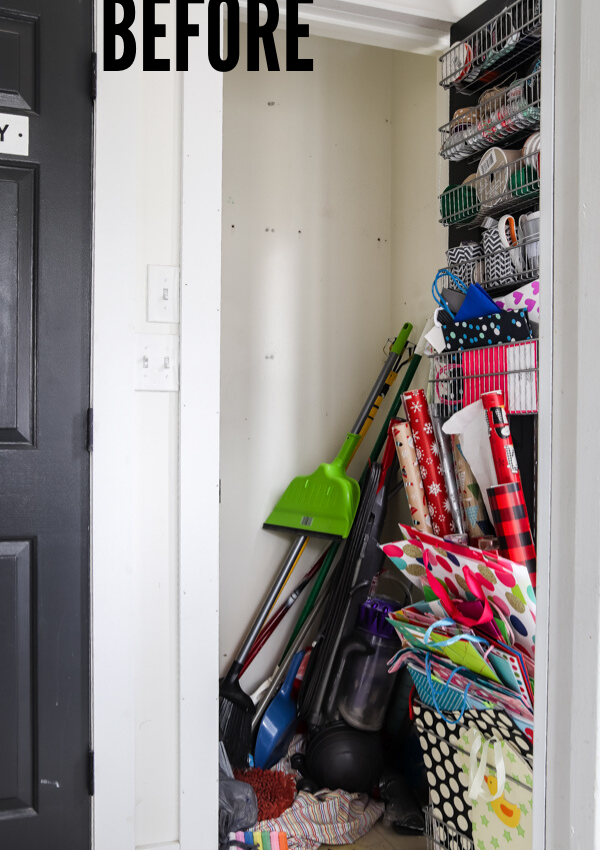 Organized cleaning closet BEFORE
